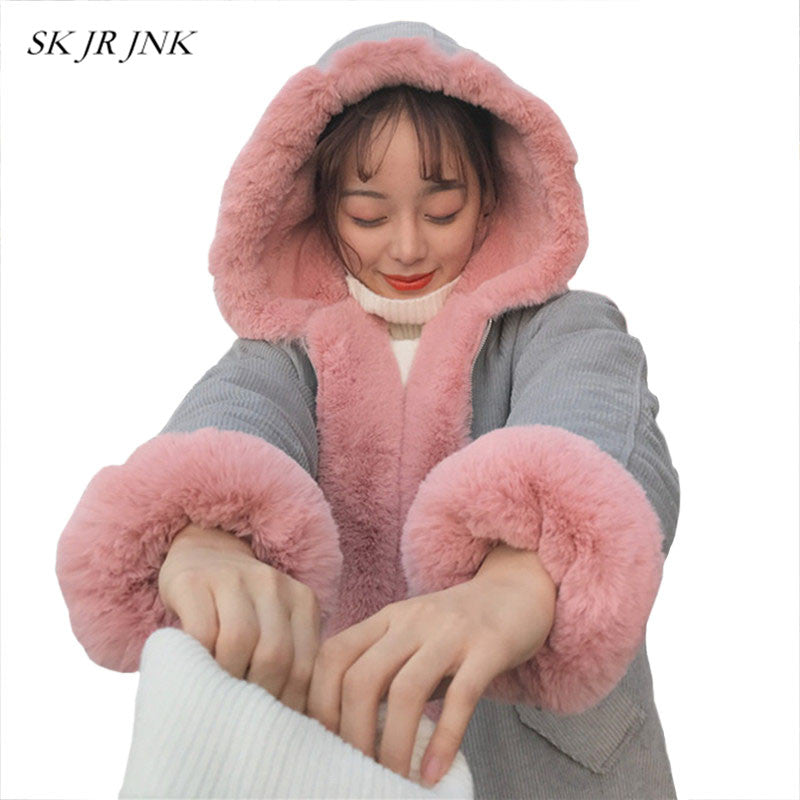 Corduroy Thicken Loose Fur Collar Hooded Warm Padded Jacket Winter Women Long Coat Casual Cocoon Parka Wyf02