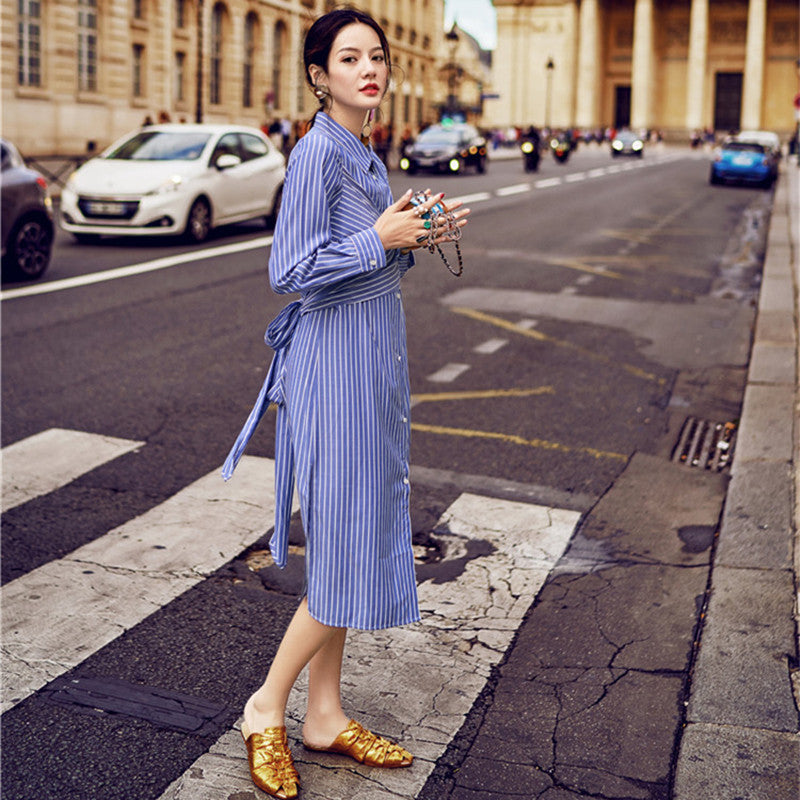 Cotton Stripe Dress Spring Summer Boho Long Sleeve Loose Casual TurnDown Collar Button Slim Fit Party Dress Women Rs04