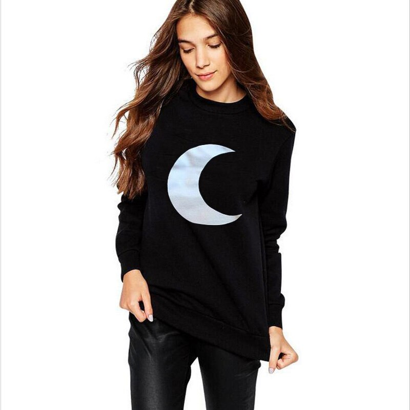Crescent Moon Sweatshirt Harajuku Top Pullover Women Long Sleeve Crewneck Hoodies Black White