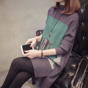 Crochet Knitted Sweater Spring Autumn Women Pullover Print Cashmere Sweater Lady Winter Turtleneck Long Sweaters Lay46