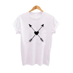 Crossed Arrows Through Heart Love T Shirt Harajuku Graphic Tees Women Clothes Summer Black White Cotton TShirt