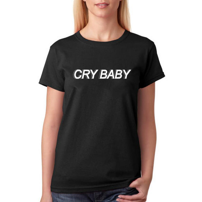 Cry Baby TShirt Women Black White T Shirt Harajuku Tumblr Cotton Letters Printing Tee Shirt Femme S2Xl