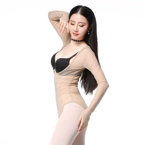 Diamonds Drilling Plus Size One Piece Leotard Women Dance Accessories Long Sleeves Tops Bottoming Shirt Belly Dance Bodysuit