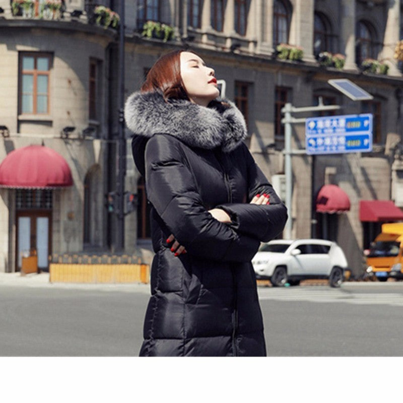 Down Coats Winter Women Jacket White Duck Down Fur Collar Maxi Coat Plus Size Warm Chaquetas Mujer Invierno Wyf164