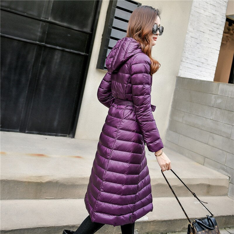 Down Jacket Vintage A Line Overcoat Ultralight Winter Down Coat Long Warm Parka With Belt Chaqueta Mujer Invierno Pw80