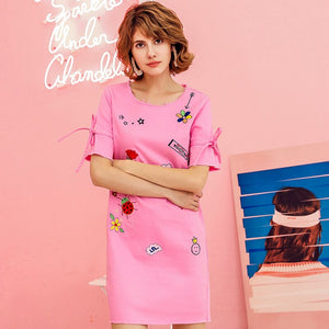 Embroidery TShirt Dress Summer Short Sleeve Casual Loose Women Cartoon Print Office Cotton Dresses Rs87