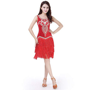 Embroidery Women Competition Dance Clothes Sequins Costume Set Fringe Salsa Ballroom Dresses Latin Dance Dress