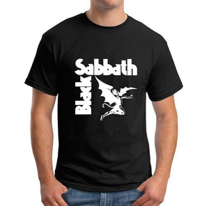Summer Heavy Metal T Shirts Mens Black Sabbath Paranoid Tee Shirts Cotton Top Short Sleeve Casual Tshirt Camiseta