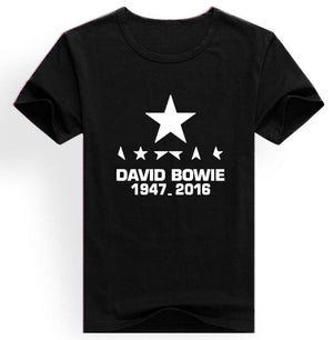 Men'S Clothing RIP David Bowie TShirts Men Short Sleeve ONeck Rock Roll Black White Cotton Tops Tee