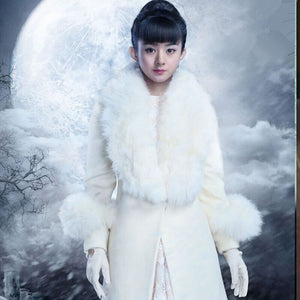 Slim Women White Cashmere Coat Fake Fox Fur Collars Wool Jacket Plus Size Long Trench Coat Winter Overcoats