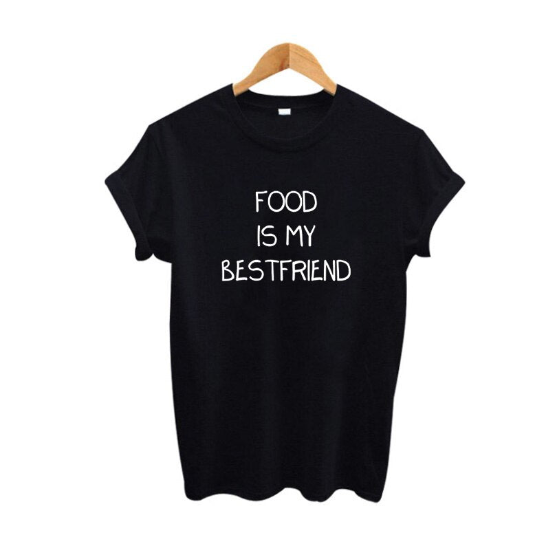Food Is My Best Friend Funny Tumblr Slogan Tees Hungry Eat Pizza Women T Shirt Haut Femme Letters Printing TShirt