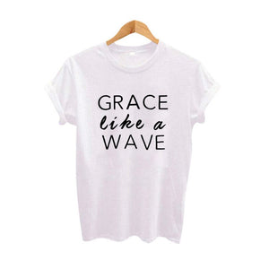 Grace Like A Wave Women Christian Graphic Tees Harajuku Hipster Christian T Shirt Jesus Give Grace Positivity Cross Faith Tshirt