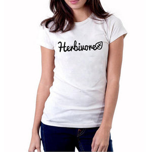 Herbivore T Shirt Plant Vegetables Hipster Women Vegetarian Tshirt Harajuku Funny Graphic Tee Shirt Summer Women Tops