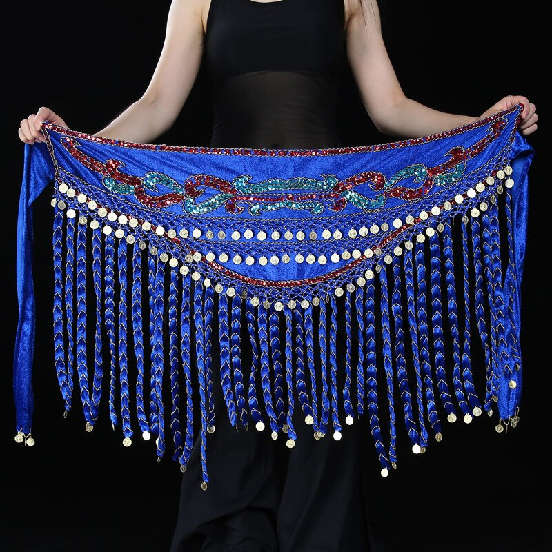 High Grade Tribal Dance Wear Embroidery Belt With Coins Velvet Wrap Scarf Long Tassel Women Belly Dance Hip Scarf