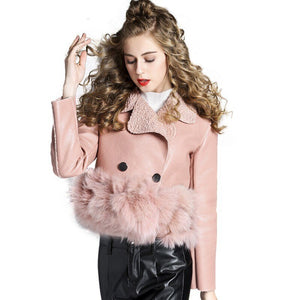 Pu Leather Jacket Spring Autumn Lambswool Fur Stitching Casual Coats Ladies Outwear