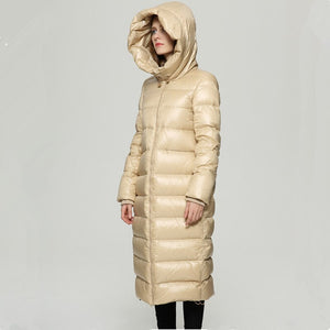 Winter White Duck Down Jacket Women Long Down Coat Parkas Thickening Waterproof Warm Clothes Lw112