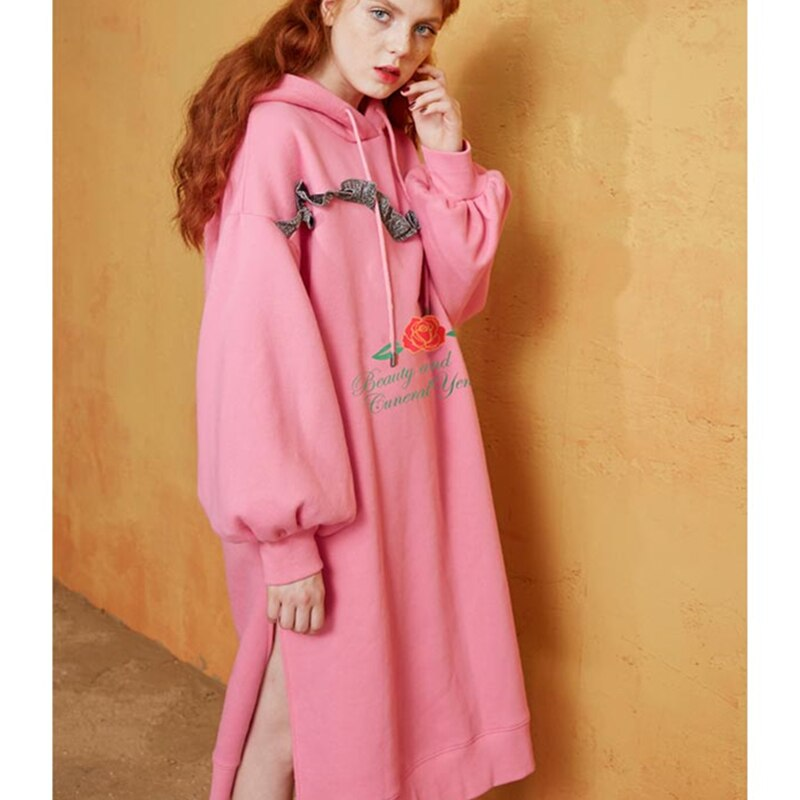 Hooded Sweatshirt Dress Spring Autumn Printe Cotton Stitching Dresses Loose Fishtail Office Long Sleeve Vestidos Lyl305
