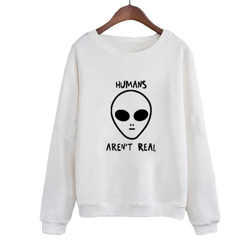 Human Aren'T Real Graphics Printed Long Sleeve Sweatshirt Women'S Autumn Winter Harajuku Crewneck Hoodies Pullover