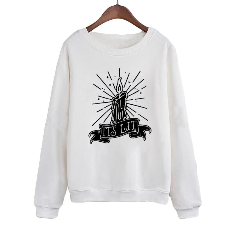 It'S Lit Crewneck Sweatshirt Women Black Flame Candle Hocus Pocus Pullover Witch Black Magic Hoodies