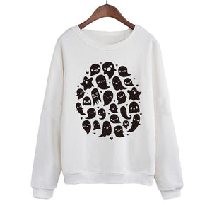 Kawaii Ghosts Sweatshirt Streetwear Funny Crewneck Hoodie Women Hip Hop Harajuku Pullover Clothing