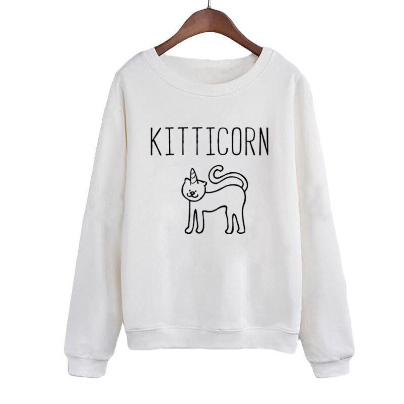 Kitticorn Kitten Sweatshirt Hipster Cute Animal Lover Sweatshirt Women Pullover Harajuku Printing RoundNeck Hoodies