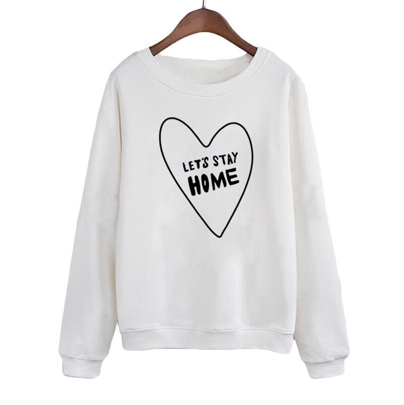 Let'S Stay Home Heart Printed Crewneck Hoodies White Black Sweatshirt Casual Lazy Tracksuit Women Pullover