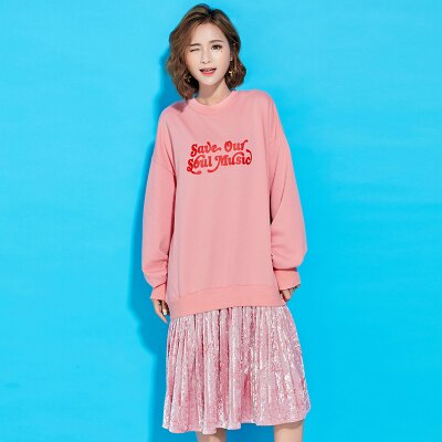 Letter Print Cotton Two Piece Set Dress Spring Autumn Women ONeck Long Sleeve Dress Casual Loose Office Dresses Lyl255