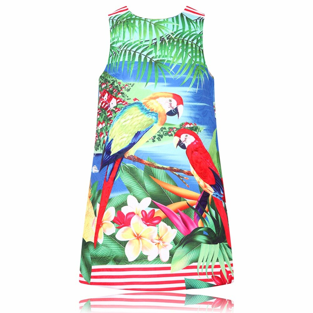Little Dresses Summer Kids Clothes Children Dress Parrot Flower Print Robe Fille Enfant Princess Dress Costume