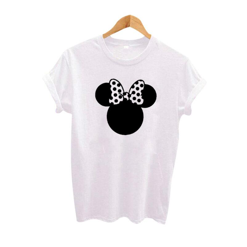 Love Mouse Cartoon Printed Women TShirt Casual White Black T Shirt RoundNeck Tops Tee Shirt Femme S2Xl