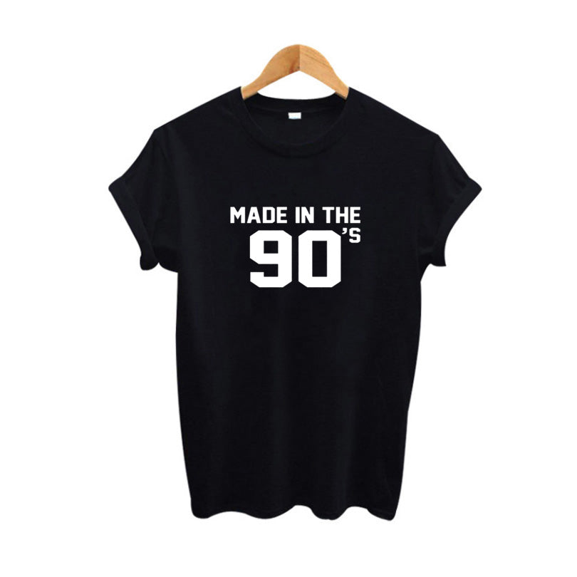 Made In The 90'S T Shirt Women Vintage Slogan Print Tee Shirt Femme Black White Casual Tshirt Tops Tumblr Clothing