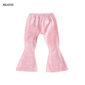Baby Girls Pants Velvet Legging Elastic Waist Boot Cut Pants Children Trousers