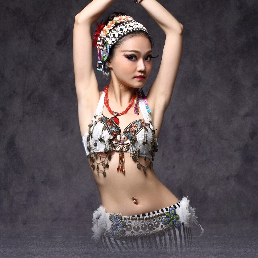Tribal Belly Dance Chain Bra Metallic Studs Push Up Bra B/C Cup Vintage Coins Bras Tribal Dance Tops