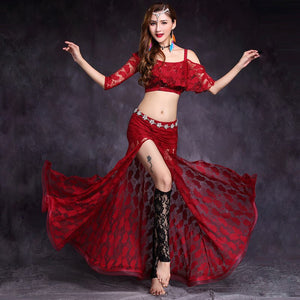 Women Dance Clothes Floral Lace Class Wear OffShoulder Side Slit Belly Dance Costume Set Top Skirt