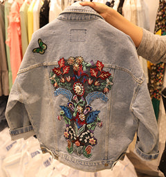 Spring Autumn Women Long Sleeve Denim Jackets Ladies Single Breasted Denim Jackets Embroidery Jean Coat Wq111