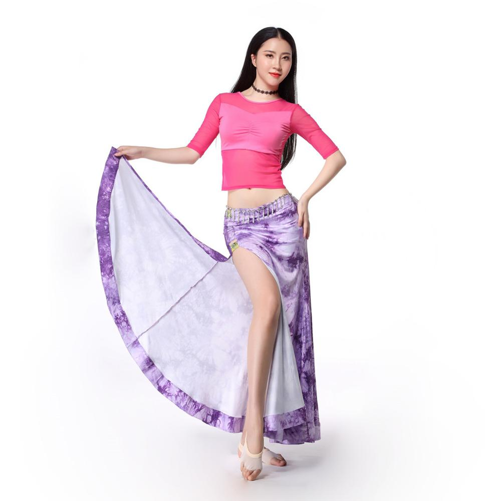 Women Dance Clothing Class Wear Spandex Stretchy TieDye Spandex Belly Dance Costume Top Skirt