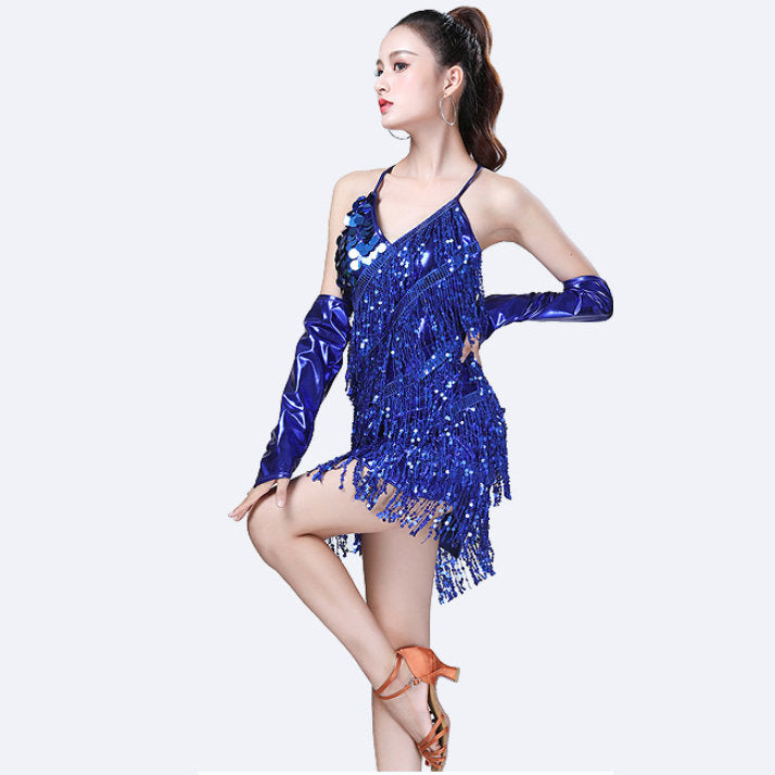 Performance Women Dance Wear Dinner Dress Salsa Costume Set With Sleeves Ballroom Competition Sequins Latin Dresses Fringe