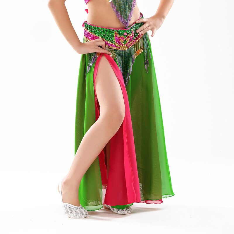 Performance Kids Belly Dancing Clothes Flare Long Maxi Skirts Chiffon Skirt Double Colored Belly Dance Skirt Children