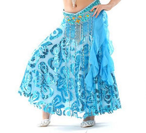 Performance Kids Belly Dancing Clothes Flare Long Maxi Skirts Chiffon Skirt Professional Belly Dance Skirt Children