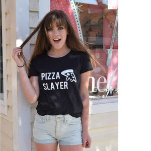 Pizza Slayer T Shirt Women Tumblr TShirt Hipster Streetwear Funny Harajuku ONeck Tee Shirt Femme Black White