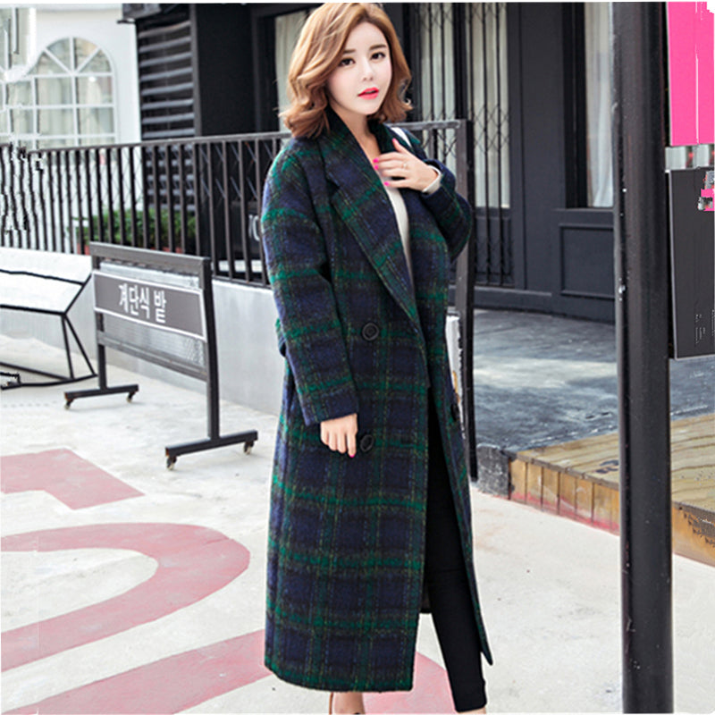 Plaid Striped Loose Cocoon Warm Woolen Overcoat Casual Women Autumn Winter Wool Blend Long Trench Lyl244