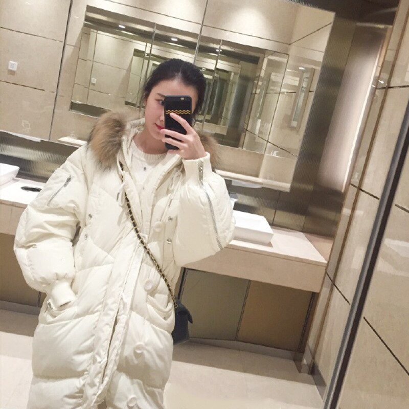 Plus Size Women Winter Down Jacket Long Loose Casual Outwear White Duck Down Parkas Thicken Warm Ladies Coat