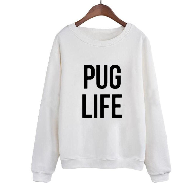 Pug Life Harajuku Top Women Sweatshirt Black White Crewneck Hoodies Long Sleeve Pullover Moletom Tumblr Sweatshirt