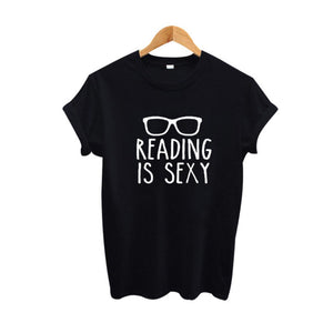 Reading Is Slogan Shirt Hipster Women Clothing Summer Funny T Shirts Black White Cotton Tee Shirt Femme Women Tops