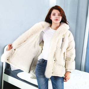 Real Fox Fur Collar Winter Super Large Fur Collar Thick Down Jacket Short Paragraph Warm Wadded Coat Pw72