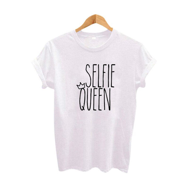 Selfie Queen Tshirt Funny Slogan T Shirt Top Summer Clothing Hipster Ladies Tee Shirt Femme Black White