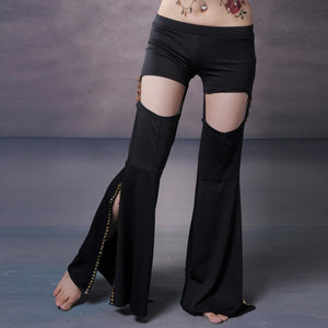Tribal Belly Dance Pants Black Practice Pants Elastic Waist With Hole Inseparable High Waisted Flare Pants Women