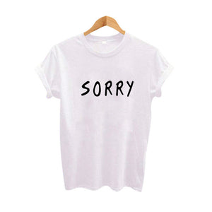 Sorry Slogan Tshirt Women Letters TShirt Black White Cotton T Shirt Tops Clothing Summer Tees