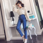 Spring Autumn 2 Piece Set Women Shirt Blouse + Pencil Pants Jeans Pants Suit Lady Lace Tops Denim Trousers Sr381