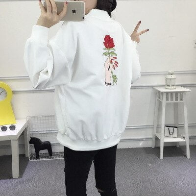 Spring Autumn Women Jacket Printed Long Sleeve Basic Coat Ladies Zipper Jacket Casual Stand Collar Outerwear Lyl14