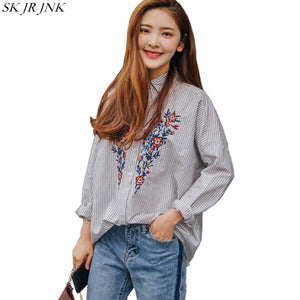 Spring Autumn Women Stripe Shirt Ladies Long Sleeve Harajuku Button Casual Embroidery Blusas Blouses Tops Wq261